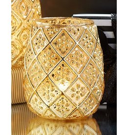 Twos Company Gold Mercury Glass Votive Tealight Candle Holder -B