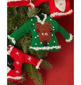 Twos Company Pretty Ugly Sweater Christmas Ornament w Reindeer