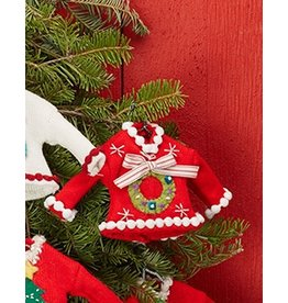 Twos Company Pretty Ugly Sweater Christmas Ornament w Wreath