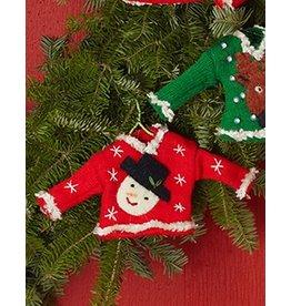 Twos Company Pretty Ugly Sweater Christmas Ornament w Snowman