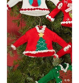 Twos Company Pretty Ugly Sweater Christmas Ornament w Tree