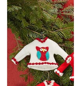 Twos Company Pretty Ugly Sweater Christmas Ornament w Owl