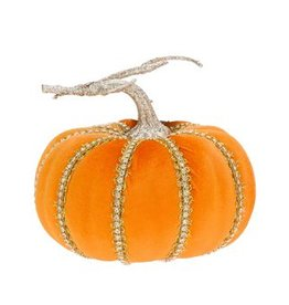 Mark Roberts Fall Decor Fashion Pumpkin w Bling Short 6Hx7D Inches