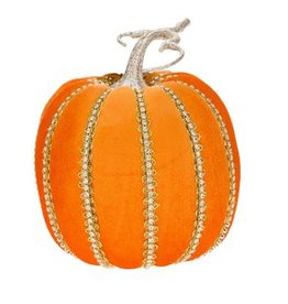 Mark Roberts Fall Decor Fashion Pumpkin w Bling Tall 8Hx6D Inches