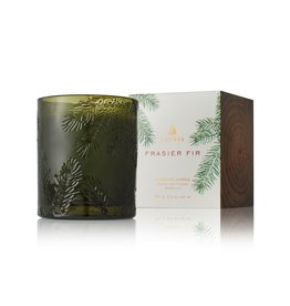 Thymes Frasier Fir Poured Candle 6.5oz Molded Green Glass Gift Wrapped