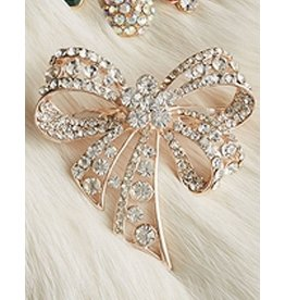 Twos Company Jeweled Christmas Lapel Pin - Bow