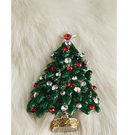 Twos Company Jeweled Christmas Lapel Pin - Green Christmas Tree