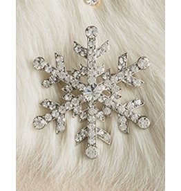 Twos Company Jeweled Christmas Lapel Pin - Silver Snowflake