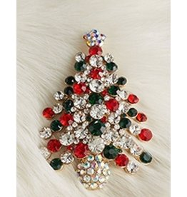 Twos Company Jeweled Christmas Lapel Pin - Christmas Tree
