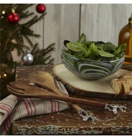 Twos Company Wood Salad Servers Set w Metal Icon Deer