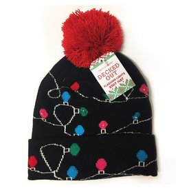 Twos Company Decked Out Light Me Up LED Knit Christmas Hat w Pom Pom