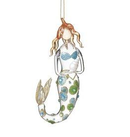 Midwest-CBK Mermaid Ornament Glass Mermaid Holding Shell