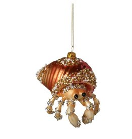 Midwest-CBK Glass Hermit Crab in Shell Ornament Coastal Christmas