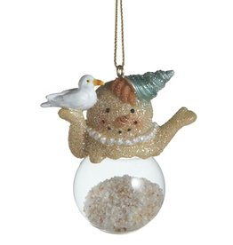 Midwest-CBK Sand Snowman Ornament Filled w Sand Holding Seagull