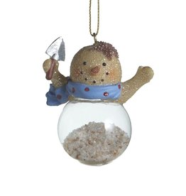Midwest-CBK Sand Snowman Ornament Filled w Sand Holding Shovel