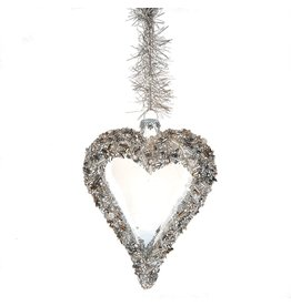 Midwest-CBK Glitter Beaded Glass Heart Ornament