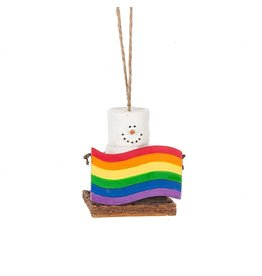 Midwest-CBK Smores Ornament Holding Rainbow Gay Pride Flag