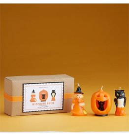 Twos Company Halloween Sculpted Candles 3pc Set w Witch Cat Owl
