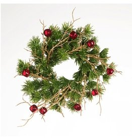Darice Christmas Candle Ring for 3in Pillar Mini Wreath Pine Red Bells