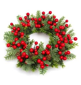 Darice Christmas Candle Ring for 5.5in Pillar Mini Wreath Pine Berry
