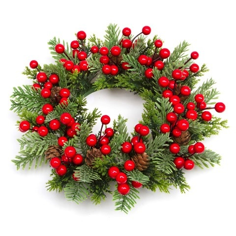 darice christmas candle ring for 55in pillar mini wreath pine berry - Decorative Christmas Candle Rings