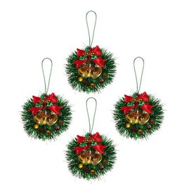 Darice Mini Christmas Wreath Ornaments Tinsel w Bows Bells 4PK