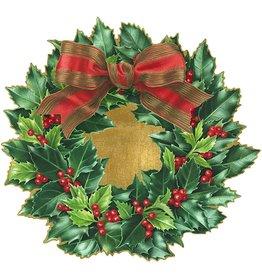 Caspari Christmas Placemats Die Cut 3005PM Holly Wreath Set of 4