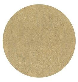 Caspari Placemats Round Felt Backed - Gold Faux Leather Texture