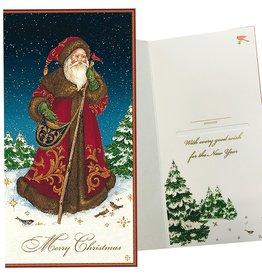 Caspari Single Christmas Gift Card Money Holder Father Christmas Santa