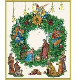 Caspari Advent Calendar Card Nativity Wreath