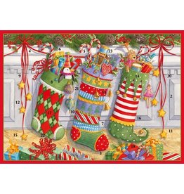 Caspari Advent Calendar Card Stockings on the Mantel