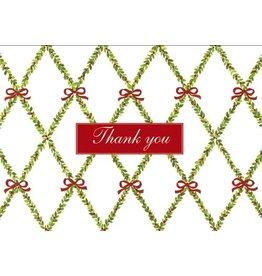 Caspari Thank You Note Cards Christmas 85626.48 Garland Trellis Set of 8