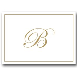 Caspari Gold Embossed Initial Note Cards Letter B Boxed Set of 8