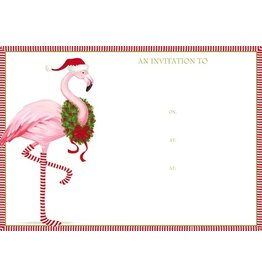 Caspari Holiday Party Invitations Christmas Flamingo Invites 8pk