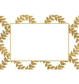 Caspari Table Place Cards 10pk Acanthus Trellis Ivory Gold