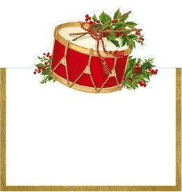 Caspari Table Place Cards Die Cut 8pk Christmas Concert Drum