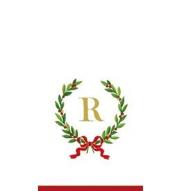 Caspari Christmas Monogram Initial R Paper Guest Napkins 20pk