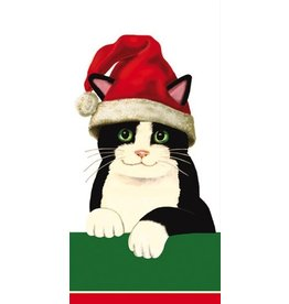 Caspari Paper Facial Tissues Christmas Santa Cat Hankies 10pk