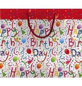 Caspari Happy Birthday Gift Bag Large 11.75x4.75x10 inch