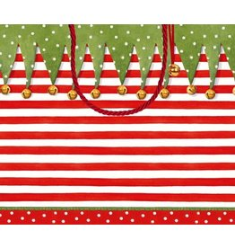 Caspari Christmas Gift Bag Large 11.75x4.75x10 inch Stocking Stripe