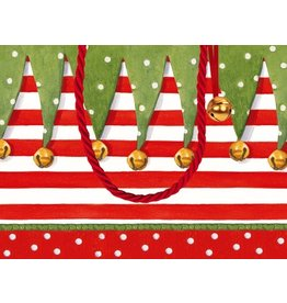 Caspari Christmas Gift Bag Small 7x3x5.25 inch Stocking Stripe
