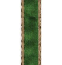 Caspari Ribbon R716 Solid Green w Gold Edge Ribbon 9 yrds