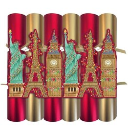 Caspari Christmas Crackers CK062.12 Set of 6 Cities of Lights 12.5in