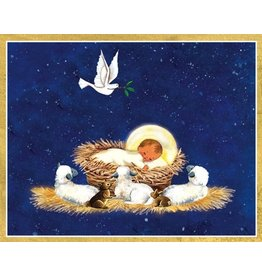 Caspari Boxed Christmas Cards Set of 16 Baby In The Manger with Dove