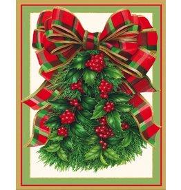 Caspari Boxed Christmas Cards Set of 16 Holly Bough Branch w Plaid Bow