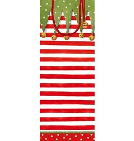 Caspari Christmas Wine Bottle Gift Bag Christmas Stocking Stripe