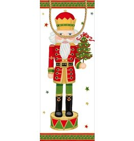 Caspari Christmas Wine Bottle Gift Bag Nutcracker Parade