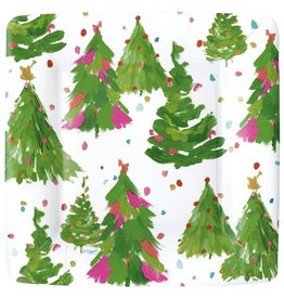 Caspari Christmas Paper Salad-Dessert Plates SQ 8pk Brushstoke Trees