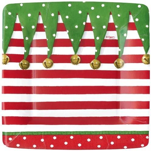 Caspari Christmas Paper Salad-Dessert Plates SQ 8pk Stocking Stripe  sc 1 st  Digs N Gifts & Caspari Christmas Paper Salad-Dessert Plates SQ 8pk Stocking Stripe ...