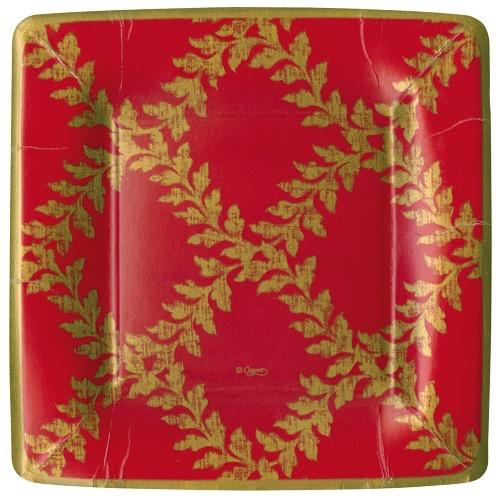 Caspari Christmas Paper Salad-Dessert Plates Sq 8pk Acanthus Trellis  sc 1 st  Digs N Gifts & Caspari Christmas Paper Salad-Dessert Plates Sq 8pk Acanthus Trellis ...